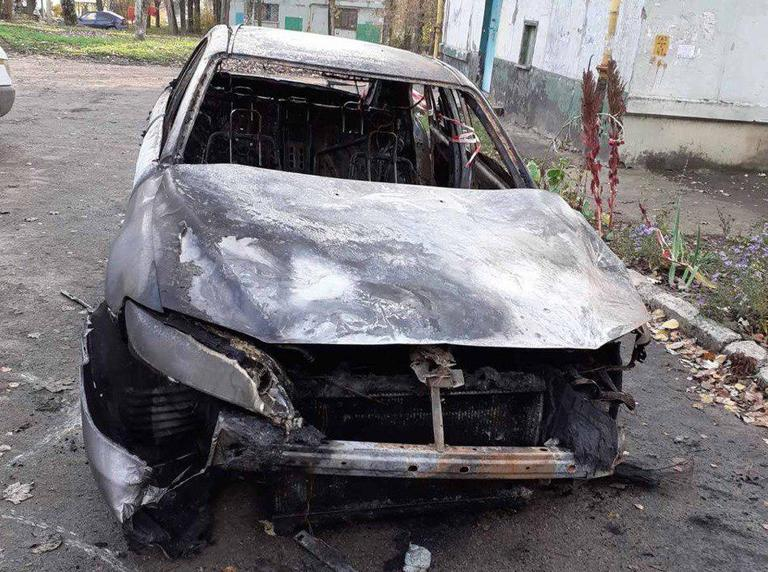 По улице Чиатурской сгорел автомобиль