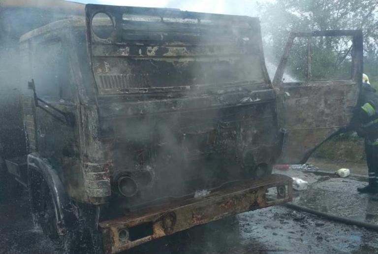 В Никопольском районе на дороге горел грузовик