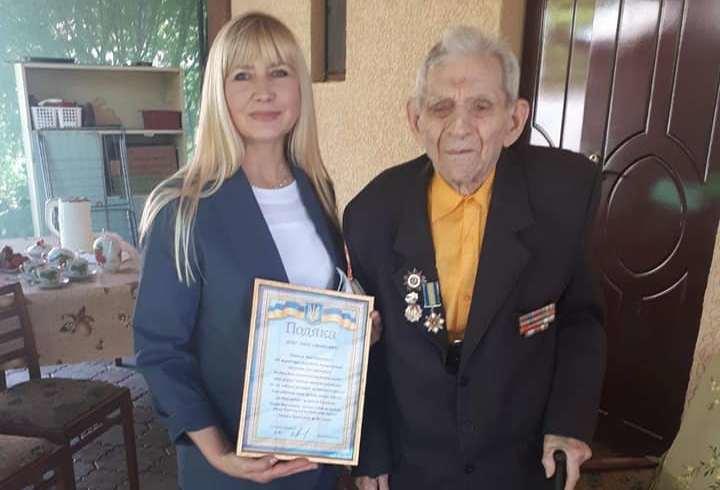 Олександра Сотула привітала ветерана з ювілеєм